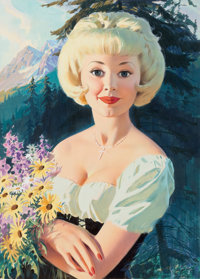 WILLIAM MEDCALF (American, 20th Century) Blonde Woman with Flowers Gouache on board 26.5 x 19.5 i