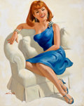 Mainstream Illustration, ARTHUR SARON SARNOFF (American, 1912-2000). Seated Red-HeadedBeauty. Oil on canvas board. 30.25 x 24 in.. Signed lower ...