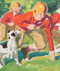 Mainstream Illustration, WILLIAM MEDCALF (American, 20th Century). Two Boys and a Dog,preliminary drawing. Watercolor and pencil on board. 19 x ...