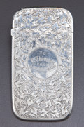 Silver Holloware, British:Holloware, A VICTORIAN SILVER CARD CASE . Maker unknown, Birmingham, England,circa 1885-1886. Marks: (lion passant), (anchor), (duty m...
