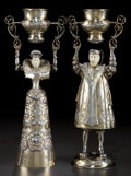 Silver Holloware, Continental:Holloware, A PAIR OF WILHELM WEINRANCK LARGE HANAU SILVER, SILVER GILT ANDIVORY FIGURAL WAGER CUPS . Wilhelm Weinranck, Hanau, Germany...(Total: 3 Items)
