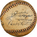 Autographs:Baseballs, 1925 Hall of Famers Multi-Signed Baseball with Ruth, Johnson,McGraw....