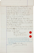 Miscellaneous:Ephemera, [Edison Phonograph]. George C. Maynard Contract to ExhibitPhonographs Signed....