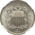 Shield Nickels: , 1868 5C MS64 NGC. NGC Census: (251/158). PCGS Population (235/97).Mintage: 28,800,000. Numismedia Wsl. Price for problem f...