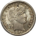 Barber Dimes: , 1907 10C MS65 PCGS. CAC. PCGS Population (42/13). NGC Census:(43/42). Mintage: 22,220,576. Numismedia Wsl. Price for probl...
