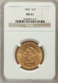 Liberty Eagles: , 1882 $10 MS61 NGC. NGC Census: (5954/4620). PCGS Population(2387/2325). Mintage: 2,324,480. Numismedia Wsl. Price for prob...