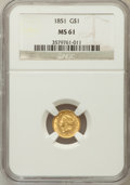 Gold Dollars: , 1851 G$1 MS61 NGC. NGC Census: (834/2383). PCGS Population(245/1404). Mintage: 3,317,671. Numismedia Wsl. Price for proble...