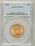 Liberty Half Eagles: , 1901 $5 MS61 PCGS. PCGS Population (400/2055). NGC Census:(1169/3230). Mintage: 615,900. Numismedia Wsl. Price for problem...