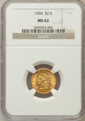 Liberty Quarter Eagles: , 1904 $2 1/2 MS62 NGC. NGC Census: (1057/2511). PCGS Population(855/2585). Mintage: 160,700. Numismedia Wsl. Price for prob...
