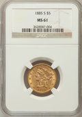 Liberty Half Eagles: , 1885-S $5 MS61 NGC. NGC Census: (832/2767). PCGS Population (310/1879). Mintage: 1,211,500. Numismedia Wsl. Price for probl...