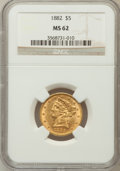 1882 $5 MS62 NGC. NGC Census: (2480/1780). PCGS Population (1259/808). Mintage: 2,514,568. Numismedia Wsl. Price for pro...