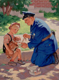 Mainstream Illustration, RAYMOND JAMES STUART (American, b.1882). First Aid for thePuppy. Oil on paper. 12.5 x 10 in.. Signed lower left. ...