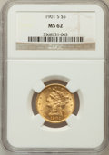 Liberty Half Eagles: , 1901-S $5 MS62 NGC. NGC Census: (1934/2890). PCGS Population(1404/2569). Mintage: 3,648,000. Numismedia Wsl. Price for pro...