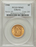 Liberty Half Eagles: , 1908 $5 MS62 PCGS. PCGS Population (1353/2395). NGC Census:(2040/2533). Mintage: 421,874. Numismedia Wsl. Price for proble...