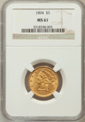 Liberty Half Eagles: , 1894 $5 MS61 NGC. NGC Census: (870/1906). PCGS Population(300/718). Mintage: 957,800. Numismedia Wsl. Price for problemfr...