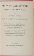 Books:World History, Oxford Faculty. Why We Are at War. Clarendon Press, 1914. Third edition, sixth impression. Minor rubbing to clot...