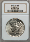 Peace Dollars: , 1926-D $1 MS63 NGC. NGC Census: (653/1576). PCGS Population(1241/2363). Mintage: 2,348,700. Numismedia Wsl. Price for prob...
