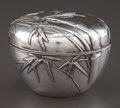 Silver Holloware, Continental:Holloware, A JAPANESE SILVER COVERED BOX . Maker unknown, Japan, circa 1900.Marks: (characters) . 3-7/8 inches diameter (10.0 cm). 6.3...(Total: 2 Items)