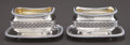 Silver Holloware, British:Holloware, A PAIR OF DANIEL PONTIFEX GEORGE III SILVER AND SILVER GILT SALTSWITH UNDERPLATES . Daniel Pontifex, London, England, circa...(Total: 4 Items)