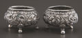Silver Holloware, Continental:Holloware, A PAIR OF INDIAN SILVER OPEN SALTS . Maker unknown, India, circa1900. Unmarked. 1 inch high (2.5 cm). 1.46 troy ounces. ... (Total:2 Items)