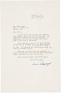 Baseball Collectibles:Others, 1958 Dave Bancroft Signed Letter....