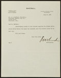 Baseball Collectibles:Others, 1935 Kenesaw Mountain Landis Signed Typed Letter. ...