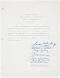 Baseball Collectibles:Others, 1944 Thomas Yawkey and Eddie Collins Signed Document....