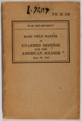 Books:Americana & American History, [Unarmed Combat]. War Department. Basic Field Manual. UnarmedDefense for the American Soldier. Washington: Governme...