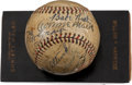 Autographs:Baseballs, 1932 Babe Ruth, John McGraw & More Signed Baseball from WillHarridge Estate....