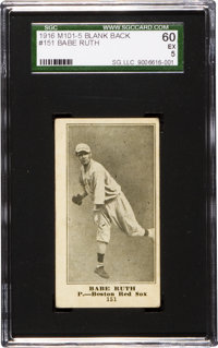 1916 M101-5 Blank Back Babe Ruth Rookie #151 SGC 60 EX 5!