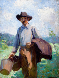 CATHERINE WILEY (1879-1958) Morning Milking Time, circa 1920s Oil on canvas 40 x 29-3/4 inches (1