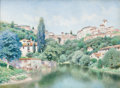 Fine Art - Painting, American, HENRY PEMBER SMITH (American, 1854-1907). Spanish Villa I.Watercolor on paper. 24 x 32 inches (61.0 x 81.3 cm). Signed ...