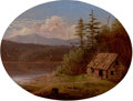 Fine Art - Painting, American:Antique  (Pre 1900), AMERICAN SCHOOL (19th Century). Cabin by a River, 1875. Oilon canvas. 9-1/2 x 12-3/4 inches (24.1 x 32.4 cm). Signed in...