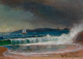 Fine Art - Painting, American:Antique  (Pre 1900), BENJAMIN CHAMPNEY (American, 1817-1907). Oil Study forSeascape. Oil on panel. 9 x 12-1/2 inches (22.9 x 31.8 cm).Signe...