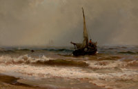 MAURITZ FREDERICK HENDRICK DE HAAS (American, 1832-1895) Out to Sea Oil on canvas 14 x 22 inches