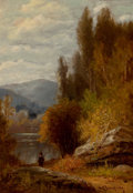 Fine Art - Painting, American:Antique  (Pre 1900), BENJAMIN CHAMPNEY (American, 1817-1907). Hunter on the Path.Oil on panel. 14 x 9-3/4 inches (35.6 x 24.8 cm). Signed lo...
