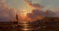 Fine Art - Painting, American:Antique  (Pre 1900), MAURITZ FREDERICK HENDRICK DE HAAS (American, 1832-1895). EarlyMorning Off the Coast, 1891. Oil on canvas. 12 x 22 inch...