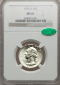 Washington Quarters, 1932-D 25C MS61 NGC. CAC....