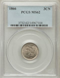 Three Cent Nickels: , 1866 3CN MS62 PCGS. PCGS Population (95/486). NGC Census: (94/451).Mintage: 4,801,000. Numismedia Wsl. Price for problem f...