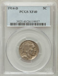Buffalo Nickels: , 1914-D 5C XF40 PCGS. PCGS Population (59/1237). NGC Census:(26/831). Mintage: 3,912,000. Numismedia Wsl. Price for problem...