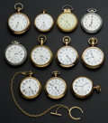 Timepieces:Pocket (post 1900), A Lot Of Ten Railway Grade Pocket Watches Including A 23 JewelWaltham. ...