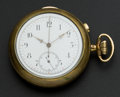 Timepieces:Pocket (pre 1900) , Swiss Quarter Hour Repeater With Chronograph For Repair. ...