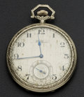 Timepieces:Pocket (post 1900), Waltham 14k White Gold 12 Size Riverside Maximus, circa 1920. ...