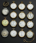Timepieces:Pocket (post 1900), A Lot Of Fifteen American Pocket Watches Including 23 Jewel, 23 Jewel Veritas & 23 Jewel 950 B. ... (Total: 15 Items)