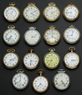 Timepieces:Pocket (post 1900), A Lot Of Fifteen Railroad Grade Pocket Watches Including A 23 Jewel Vanguard. ...