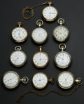 Timepieces:Pocket (post 1900), A Lot Of Ten U.S. 18 Size Pocket Watches. ... (Total: 10 Items)