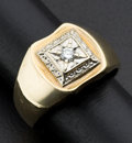 Estate Jewelry:Rings, Gent's Diamond & Gold Ring. ...