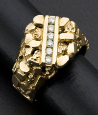 Gent's Gold Nugget Diamond Ring