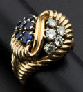 Estate Jewelry:Rings, Estate Sapphire & Diamond Gold Ring. ...
