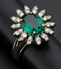 Estate Jewelry:Rings, Diamond & Synthetic Green Stone Gold Ring. ...